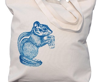 Large Tote Bags for Women - But First Coffee - Mama Needs Coffee - Beach Bag Totes - Chipmunk Drinking Coffee - Unique Wedding Shower Gift
