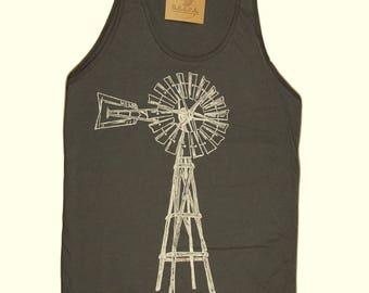 Mens Tank Tops - American Apparel - Windmill Tank Top - Retro Tshirts - Cool Shirts - Hipster Tank Tops - Printed - Green Energy Mens Gifts