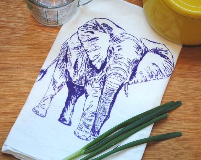 Tea Towel - Screen Printed Cotton Kitchen Towel - Purple Elephant - Washable Reusable - Elephant Tea Towels - House Warming Gifts