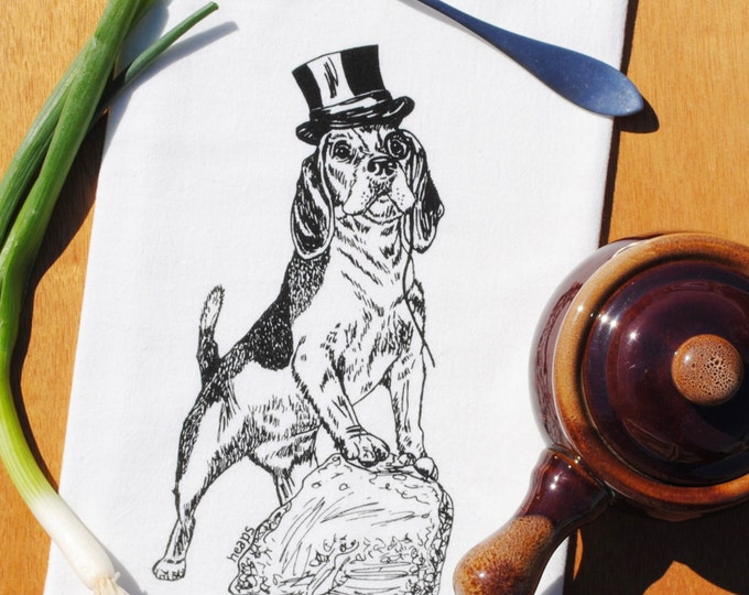 Cotton Tea Towel - Hand Screen Printed - Whimsical Black Beagle Design - Towel is Perfect for Dishes - Unique Gift for Bride