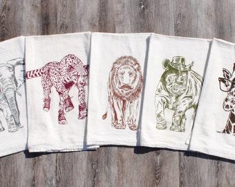 African Safari Flour Sack Tea Towels - Set of 5 - Screen Printed - Giraffe Rhino Elephant Lion Cheetah Kitchen Tea Towels - African Kitchen