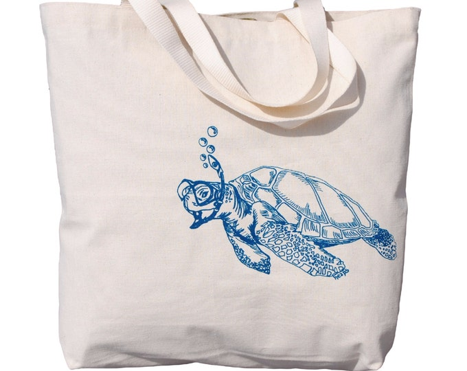 Cotton Tote Bag - Screen Printed Oversized Large Beach Totes - Canvas Tote Bag Wedding Gift Ideas - Nautical Teal Sea Turtle - Hippie Bag
