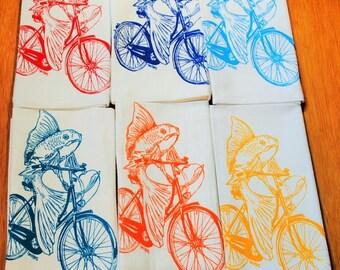 Kitchen Napkins Set of 6 - Screen Printed - Cotton Cloth Napkins - Fish on a Bicycle - Eco Friendly Napkins - Washable Reusable