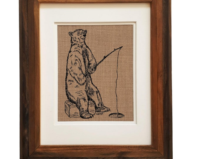 Wall Art Print Living Room - Unframed -  Fishing Art Print - Kitchen Decor - House Warming Gift - Funny Wall Decor - Animal Art - Polar Bear