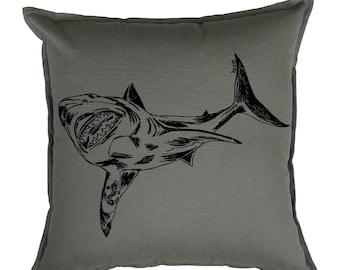 Throw Pillows 20x20 Cover - Nautical Pillows - Great White Shark Pillows - Toss Pillows - Square Pillow Cover - Couch Pillow - Shark Week