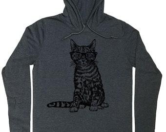 Mens Hoodies - Hipster Cat Hoodie - Cat Lover Gift - Crazy Cat Lover - Cat Pullover - Cat Glasses Tee - Mens Hoody - Funny Hoodie - Cat Tee