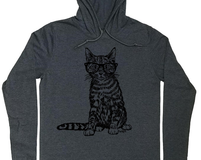 Mens Hoodies - Hipster Cat Hoodie - Cat Lover Gift - Crazy Cat Lover - Cat Pullover - Cat Glasses Tee - Mens Hoody - Funny Hoodie - Cat Tee