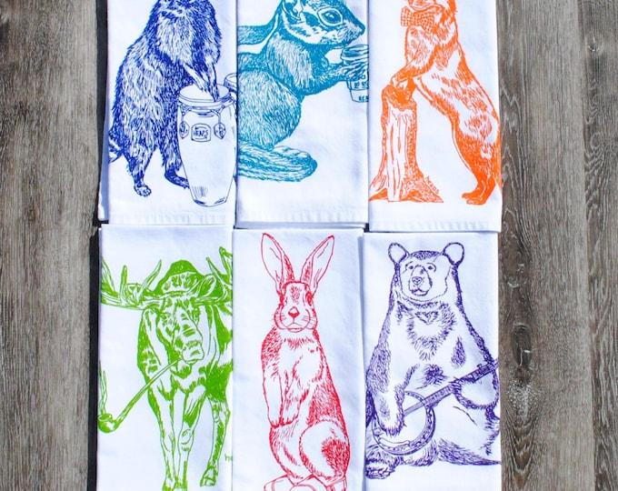 Kitchen Napkins - Screen Printed Cotton Napkins Set of 6 - Forest Animal Napkins - Funny Animals