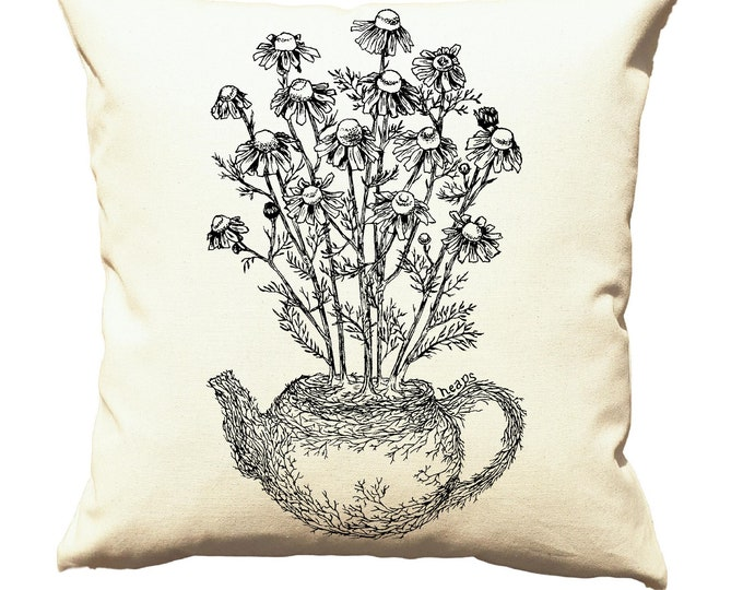 Throw Pillow Covers 20x20 - Chamomile Tea Pillows - Farmhouse Pillows - Cushion Cover - Country Pillows - Bedroom Pillows - Sofa Pillows