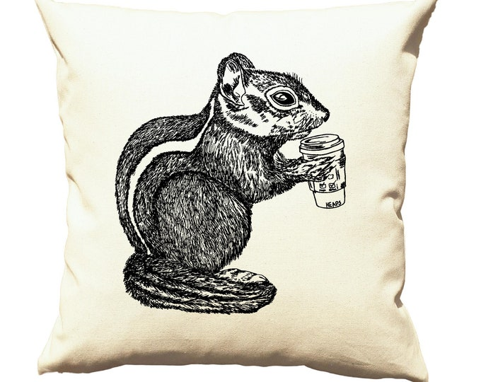 Couch Pillow Covers 20 x 20 - Gift for Women - Coffee Pillows - Throw Pillow Decorative Pillows - Cushion Cover - Chipmunk Shabby Chic Cream