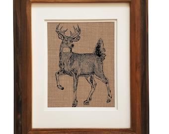 Forest Animal Print - Unframed - Wall Art Print - Deer Print - Animal Wall Decor - Rustic Wall Decor - Bedroom Wall Hangings - Handmade