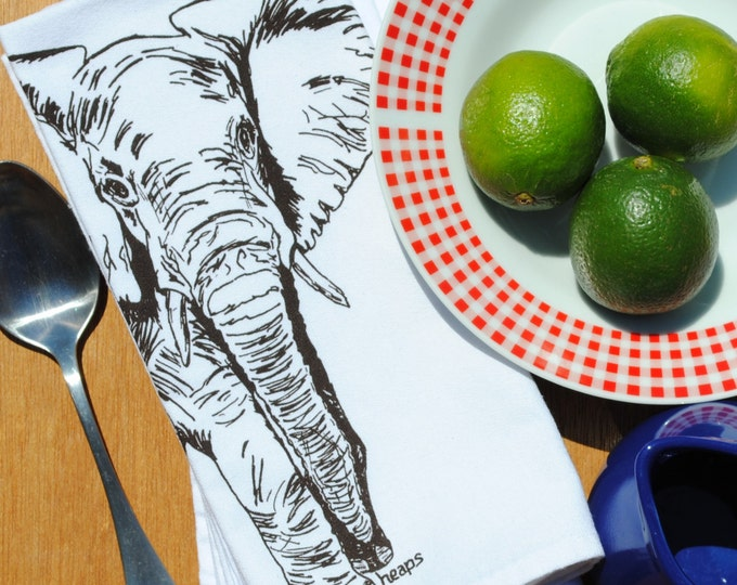 Dark Brown Elephant Set of 4 Kitchen Napkins - African Theme - Screen Printed Napkins - Cloth Napkins - Reusable Napkins - Cotton