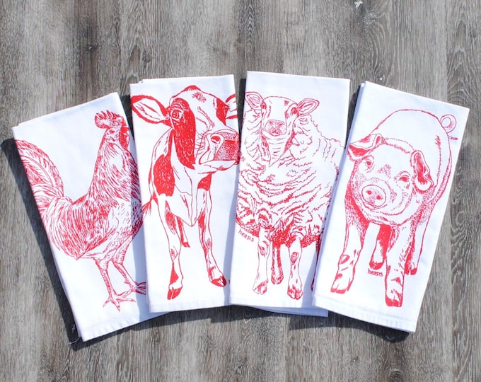 Farm Animal Cloth Napkins - Screen Printed Cotton Napkins - Red Sheep Rooster Cow Pig - Washable and Reusable