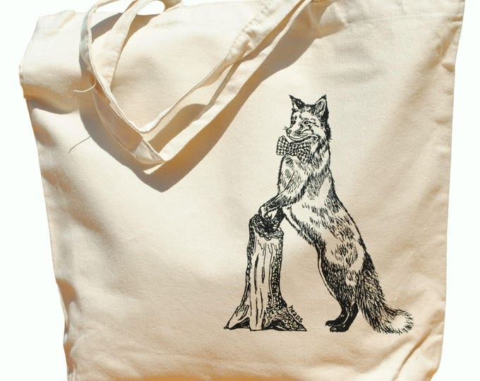 Oversized Canvas Tote Bag - Screen Printed Bag - Fox Tote Bag - Cotton Handbag Animal Bag - Wedding Mothers Day Anniversary Gift
