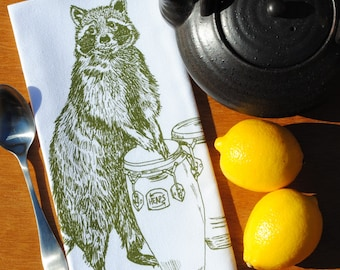 Cloth Napkins - Green Racoon Playing Congas - Screen Printed Cotton Cloth Napkins - Reusable Napkins - Unique Wedding or Birthday Gift
