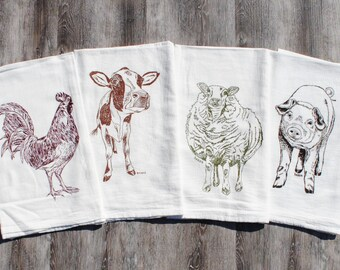 Kitchen Tea Towels - Set of 4 - Screen Printed Flour Sack Towels - Rooster Pig Sheep Cow Towels - Farm Animals - Makes Cute Wedding Gifts