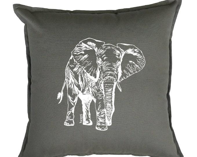 Throw Pillow Covers 20 x 20 - Animal Pillows - African Pillows - Elephant Pilllows - African Home Decor - Couch Pillow - Living Room Pillows