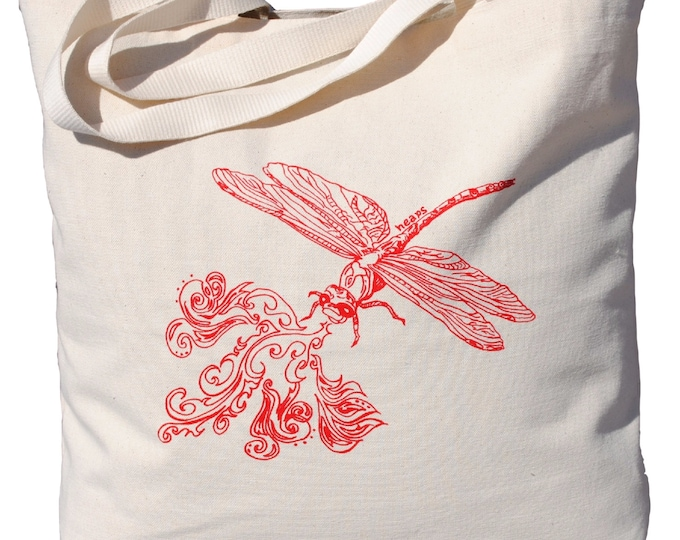 Canvas Travel Tote - Screen Printed Cotton Large Beach Bags - Travel Bag Shoulder Bag  Unique Bridal Shower Gift - Fire Breathing Dragon fly