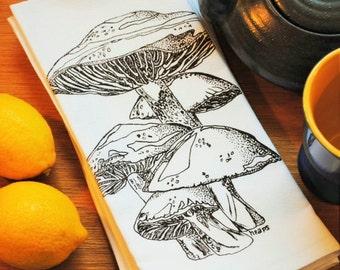 Mushroom Table Napkins Set - Screen Printed Napkins Set of Four - White Cotton Napkins Washable Reusable