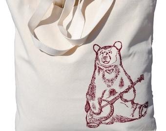 Animal Canvas Tote Bag - Screen Printed Cotton Animal Tote Bag - Traval Beach Bag Unique Bridal Shower Gift - Burgundy Whimsical Banjo Bear