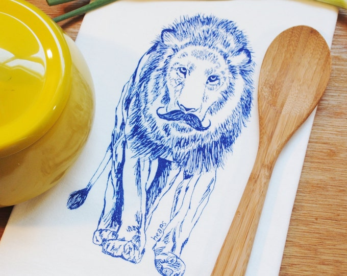 Blue Lion with a Mustache Kitchen Towel - Screen Printed Cotton Flour Sack Towel - Eco Friendly Handmade