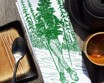 Cloth Dinner Napkins - Eco Friendly - Screen Printed Cotton - Hiking Evergreen Tree - Washable Reusable - Unique Funny Nature Forest Theme
