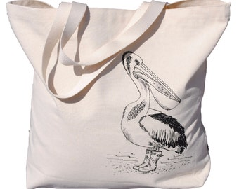 Black Pelican Canvas Tote Bag - Screen Printed Cotton Nautical Tote Bag - Unique Bridal Shower Gift