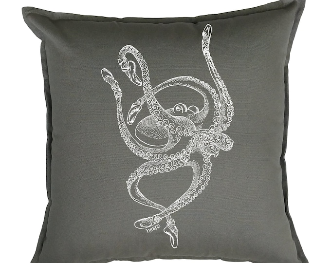 Throw Pillows 20x20 - Ballet Octopus Pillows - Beach Pillows - Summer Pillows - Nautical Decor - Funny Pillows - Nautical Pillows