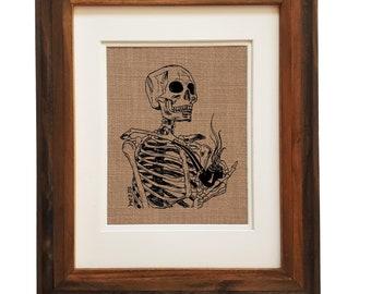 Weed Wall Art Print - Unframed - Funny Art Prints - Skeleton Art Print - Pot Gift - Pot Lover - Kitchen Wall Art - Weed Kitchen Decor - Weed
