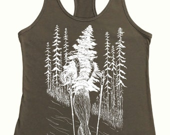 Hiking Tanks for Women - Warm Grey - Exercise Tank Top - Workout Tanks - Nature Inspired Hiker Tank Top - Womens Tank Tops Funny Tank Tops