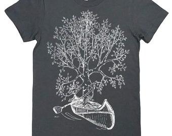 Funny Tshirts for Women   American Apparel   Canoe Tshirt   Womens Tree T Shirt   Cute Tshirts   Crew Neck   Nature T shirt   Tree Design