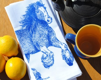 Set of 4 Dinner Napkins - Screen Printed Cotton Napkins - Blue Clydesdale Horse - Washable Reusable - Unique Wedding Shower Gift