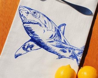 Dish Tea Towel - Screen Printed Flour Sack Towel - Blue Great White Shark with Anchor Tattoo - Kitchen Hand Towel - Nautical Beach Sea Ocean