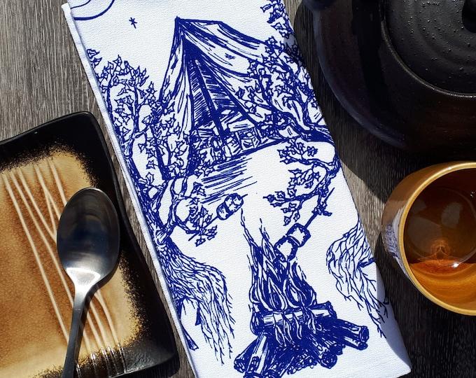 Set of 4 Cloth Napkins - Funny Napkins - Cotton Dinner Napkins - Camp Decor - Tree Prints - Camping Linens - Unique Wedding Gift Idea - Blue