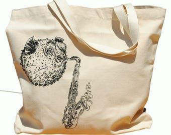 Canvas Travel Tote - Black Blow Fish Playing Saxophone - Large Beach Bags - Destination Wedding - Travel Bag Shoulder Bag Bridal Shower Gift