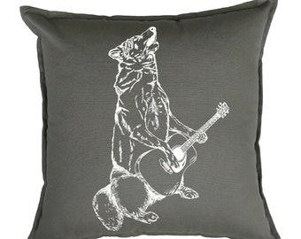 Couch Pillow Covers 20x20 - Animal Pillows - Guitar Pillows - Animal Decor - Decorative Pillows for Couch - Grey Pillows - Wolf Pillows