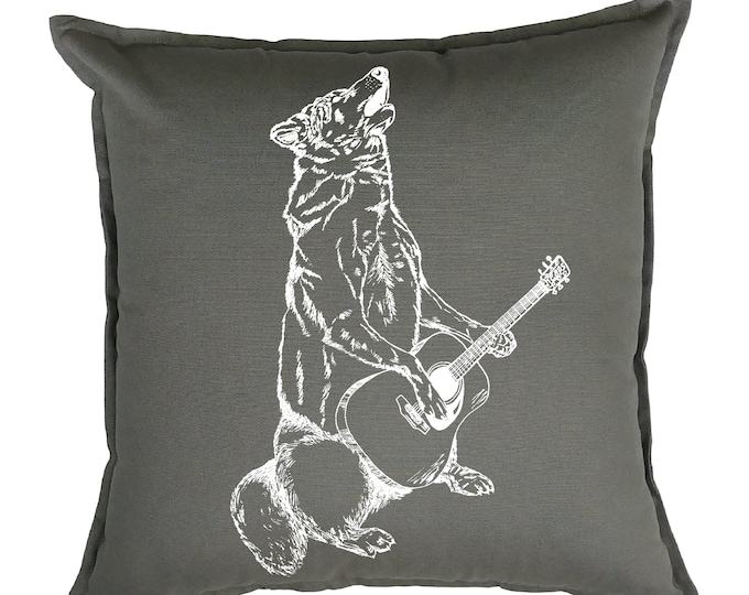 Couch Pillow Covers 20x20 - Animal Pillows - Guitar Pillows - Animal Decor - Decorative Pillows for Couch - Grey Pillows - Wolf Pillows