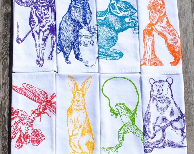 Cloth Napkins Set of 8 - Multi Color Screen Printed Animal Napkins - Cloth Napkins for Kids - Dinner Napkins - Kids Napkins