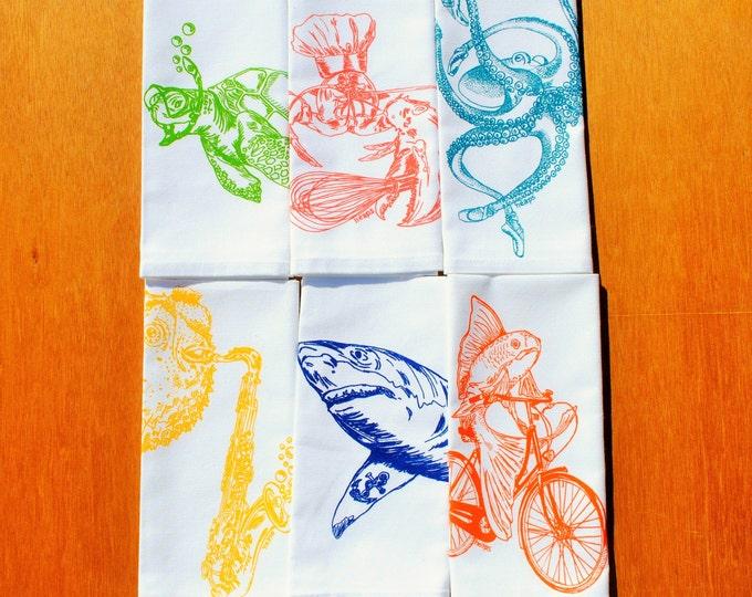 Kitchen Napkins Set of 6 - Screen Printed - Cotton Cloth Napkins - Nautical Table Setting - Eco Friendly - Washable Reusable