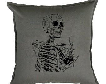 Skeleton Pillow - Throw Pillows 20x20 - Grey Couch Pillows - Funny Accent Pillows - Square Pillow Cover - Pillow Slip Covers - Hispter Decor