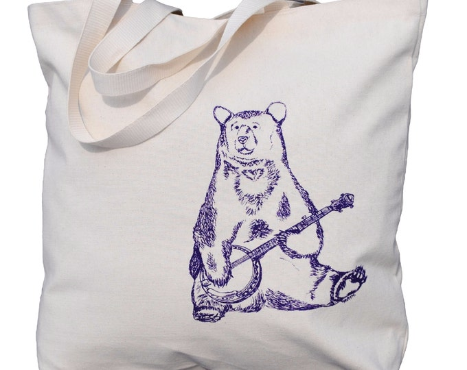 Large Cotton Tote Bag - Screen Printed Oversized Reusable Grocery Bag - Heavy Weight 10 oz Tote - Purple Banjo Bear - Bridesmaid Tote Bags