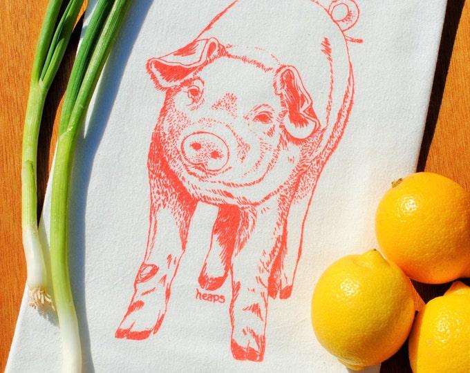 Coral Pig Kitchen Tea Towel - Screen Printed Flour Sack Tea Towel - Perfect Wedding Gift - Eco Friendly Kitchen Towel - Farm Animal Theme