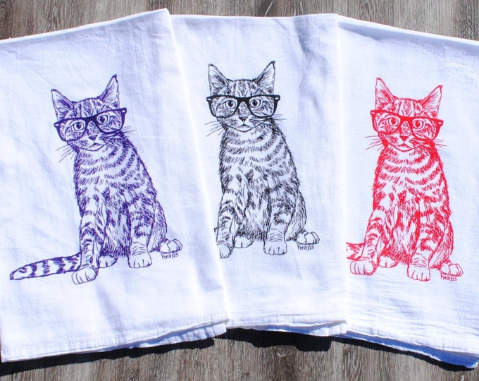 Cat Tea Towels - Set of 3 Screen Printed Kitten Kitchen Towels - Perfect for Towel Dishes