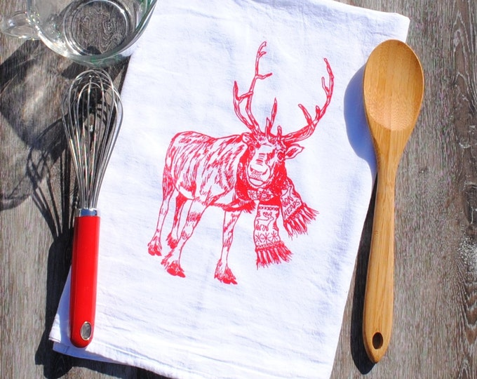 Christmas Tea Towel - Cotton Flour Sack Towel - Kitchen Christmas Towel - Reindeer Towels - Winter Kitchen Linens
