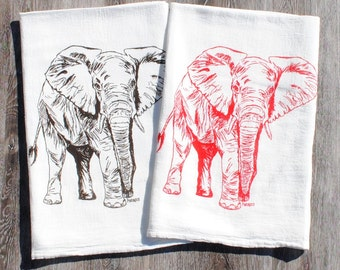 Cotton Kitchen Towel Set - Flour Sack Towels- Elephant Tea Towels - Towels for Dishes - African Animals - Printed Cotton Towels - Cup Towels