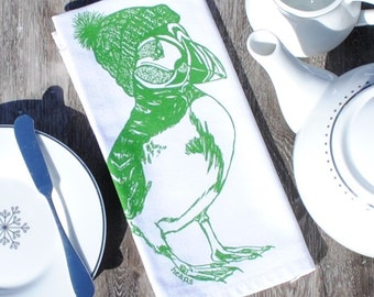 Puffin Cotton Napkins - Screen Printed Winter Cloth Napkins Set of 4 - Reusable Cotton - Winter Cotton Napkins - Unique Christmas Gift