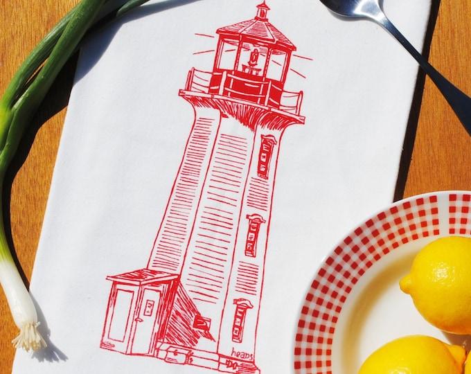 Red Lighthouse Tea Towel - Cotton Tea Towel - Flour Sack Kitchen Towel - Nautical Baby Shower Gift - Cup Towel - Dish Cloth