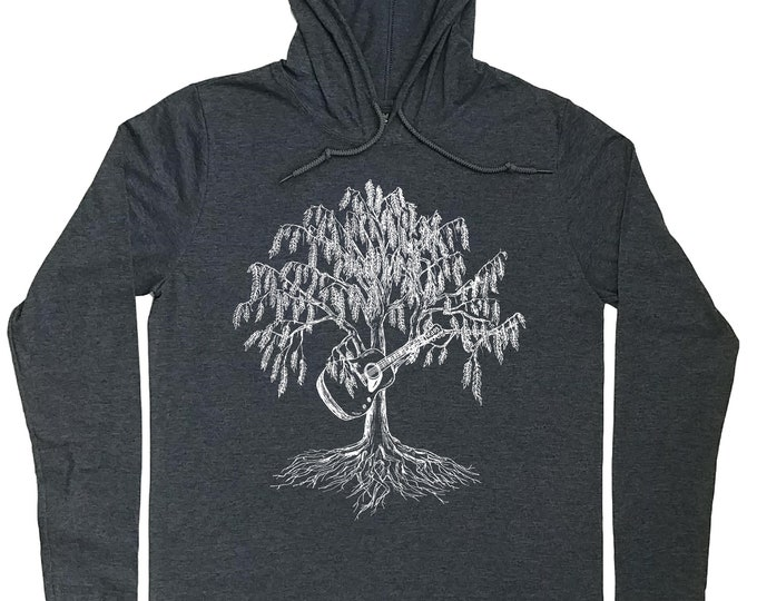 Mens Hoodies - Guitar Hoodie - Guitar Player Gift - Willow Tree - Musician Gift - Musician T Shirt - Guitar T Shirt - Graphic Hoodie