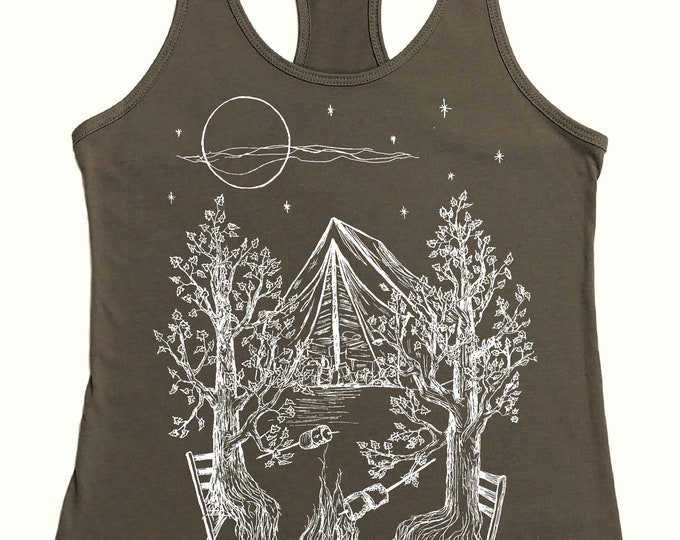 Camping Tank Top for Women - Campfire Shirt -  Nature Inspired Trees Tshirt - Womens Tank Tops - Bonfire - Tenting - Funny Tank Tops