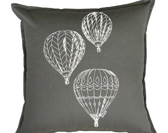 Couch Pillow Covers 20x20 - Accent Pillows - Hot Air Balloons Pillow - Decorative Pillows for Bed - Gifts for Mom - Unique Pillows - Square
